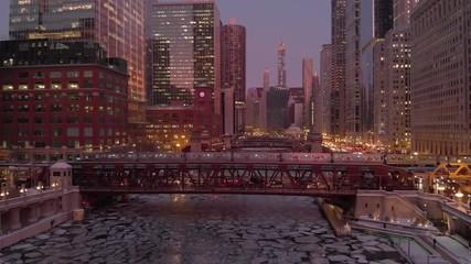 Fototapete - Chicago downtown aerial river buildings skyline ice frozen train bridge