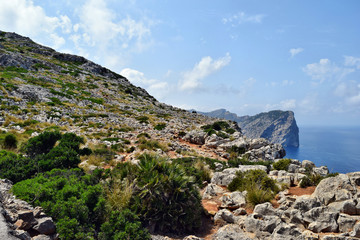 Beautiful sea bay and mountains on Cap Formentor