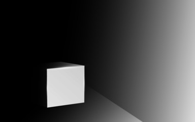square box in the dark room
