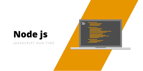 Learn to code Node JS Javascript run-time programming language with script code on laptop screen, programming language code illustration - Vector Wall mural