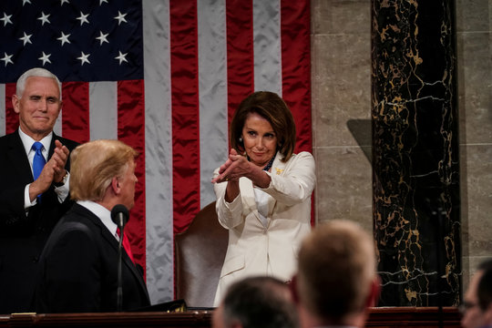 President Donald Trump delivered the State of the Union address, with Vice President Mike Pence and Speaker of the House Nancy Pelosi, at the Capitol in Washington