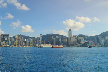 blue sky of Hong Kong harbour