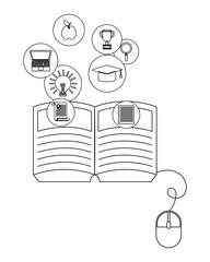 online education elements cartoon
