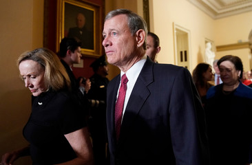 U.S. Supreme Court Chief Justice Roberts departs after President Trump concluded his second State of the Union address to a joint session of the U.S. Congress in Washington