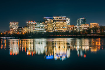 View of the Rosslyn skyline at night in Arlington, Virginia from Georgetown, Washington, DC
