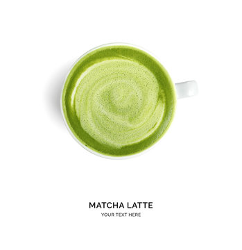 Creative layout made of matcha latte on white background. Flat lay. Food concept.
