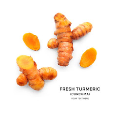 Creative layout made of turmeric (curcuma). Flat lay. Food concept.