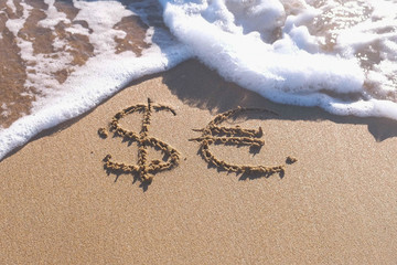 Euro and Dollar signs written in the sea sand. Waves washed away the inscription.