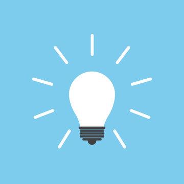 light blub icon on blue background