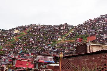 View of La rung Gar Buddhist Academy in the La rung Valley, La rung Gar(LuoRuo) Seda(Sertar), Sichuan, China, Nov 9th, 2018.