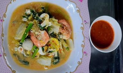 Shrimp suki with squid, Thai style food