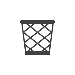 Trash bin vector icon. filled flat sign for mobile concept and web design. Waste basket simple solid icon. Symbol, logo illustration. Pixel perfect vector graphics