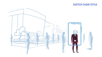 businessman standing out from crowd people silhouettes using mobile application tired mask face smartphone screen city street cityscape background sketch flow style horizontal