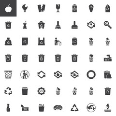 Garbage and recycling vector icons set, modern solid symbol collection, filled style pictogram pack. Signs logo illustration. Set includes icons as organic food waste, garbage bag, battery utilization