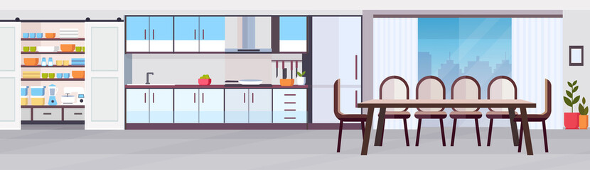 modern kitchen interior design with dining area panoramic view empty no people horizontal banner flat