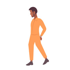 african american handcuffed prisoner man criminal in orange uniform arrest tribunal imprisonment concept male cartoon character full length flat isolated
