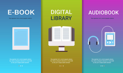 set e-book digital library audiobook concepts collection online education e-learning reading books technology flat horizontal copy space