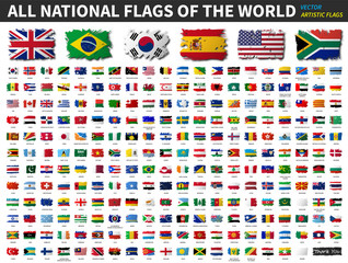 All national flags of the world . Artistic watercolor painting flat design . Vector