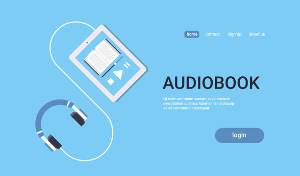 online audiobook mobile application tablet or smartphone screen with headphones audio book distance education e-learning concept blue background flat horizontal copy space