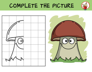 Complete the picture of a mushroom. Copy the picture. Coloring book. Educational game for children. Cartoon vector illustration