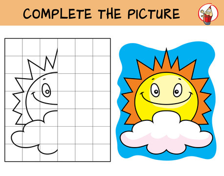 Complete the picture of sun and cloud. Copy the picture. Coloring book. Educational game for children. Cartoon vector illustration