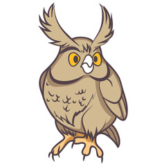 sitting owl cartoon