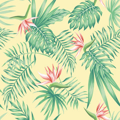 flowers tropical leaves beach background pattern