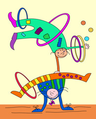 Circus artists: acrobats - jugglers_ Performance in circus_illustration for children