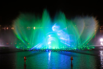 Music fountain water curtain movie images