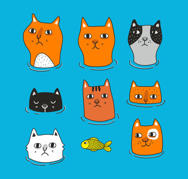 Set of cats heads isolated on blue background.