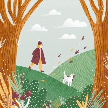 Autumn landscape illustration, girl and a dog walking