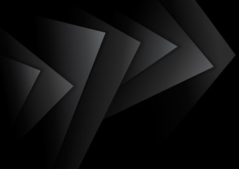 Black Abstract Background with Dark Textured Layers and Shadows - Illustration, Vector