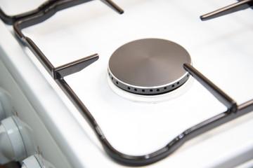 Gas burner new stove. Close-up.