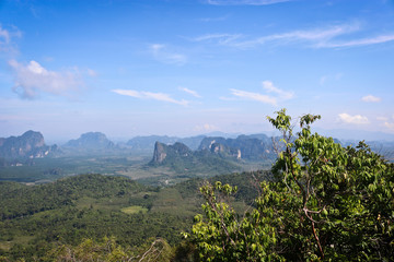 View of the valley and the unusual mountains from the viewpoint, Krabi, Thailand