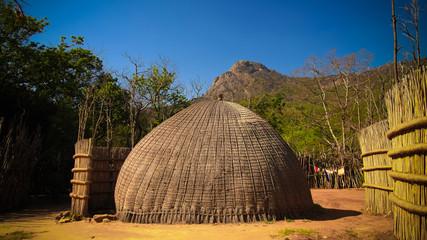 Traditional swati hut at the village near Manzini, Mbabane at Eswatini, former Swaziland