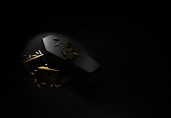 Coffin and wealth gold bars isolated on black