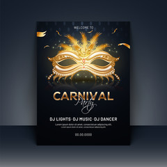 Carnival party template or invitation card design with realistic golden party mask illustration.