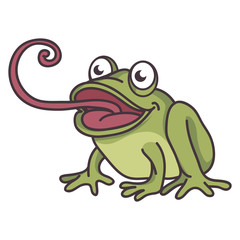 cute frog cartoon sticking tongue out