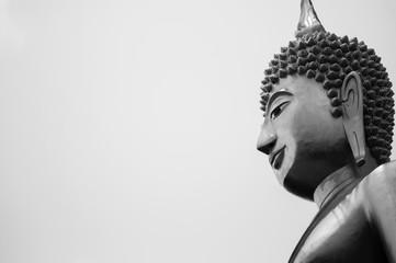 Great Buddha Statue, Buriram, Thailand, Black and white image with copy space