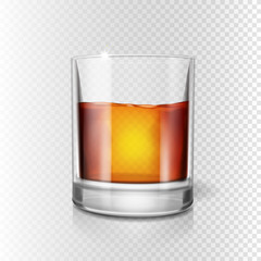 Scotch whiskey or rum, brandy shot glass, Realistic illustration