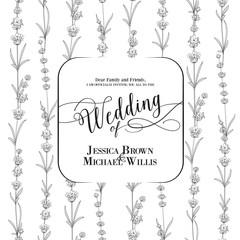 Wedding invitation with blossom lavender. Bridal shower card with white background. Vintage floral invitation for spring or summer bridal shower. Vector illustration.