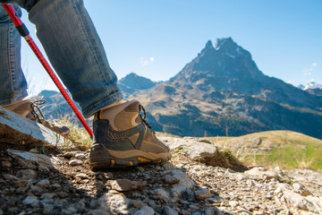 close up of hiker shoes the Pic Ossau on background