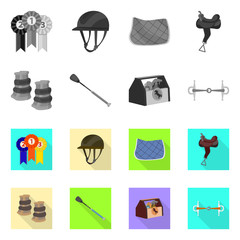 Isolated object of equipment and riding sign. Set of equipment and competition stock symbol for web.