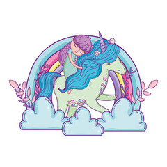 little unicorn and princess in the clouds