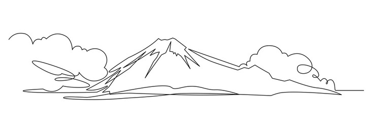 Mountain landscape continuous one line vector drawing
