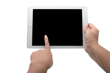 White digital tablet in hand and white isolate - Images