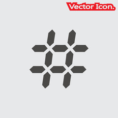 Hashtag icon isolated sign symbol and flat style for app, web and digital design. Vector illustration.