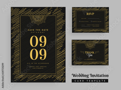 Scribble Pattern Wedding Invitation Template Design With Marriage