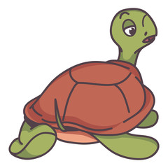 funny turtle cartoon style