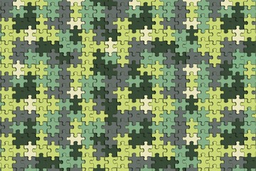 The pattern of colorful puzzle painted in military camouflage.